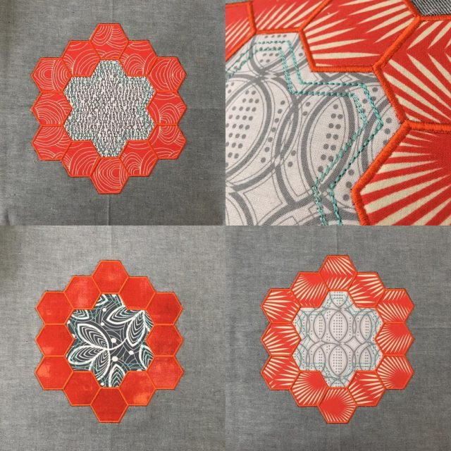 Hexies with my janomeamerica embroidery machine!!