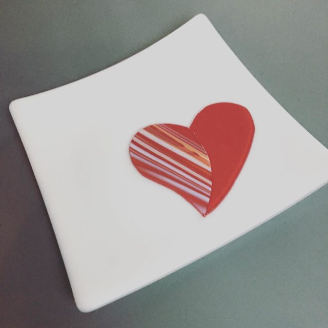 A fused glass plate I made for Christian for Valentineshellip