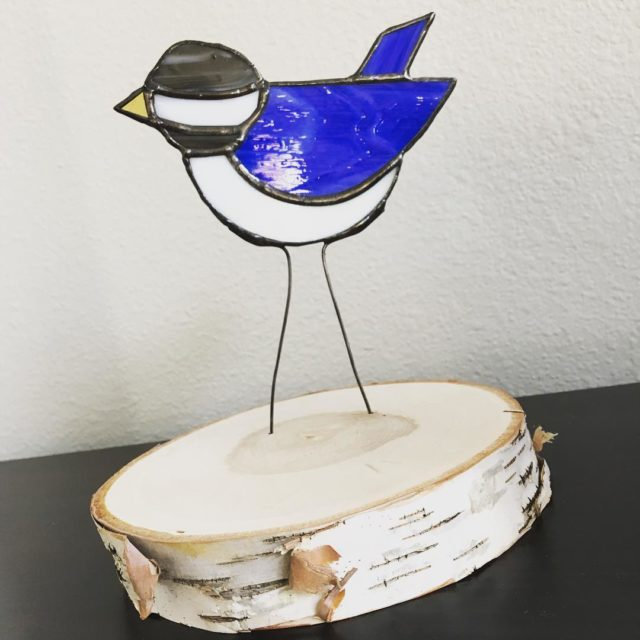 My first 3D glass art This little blue bird nowhellip